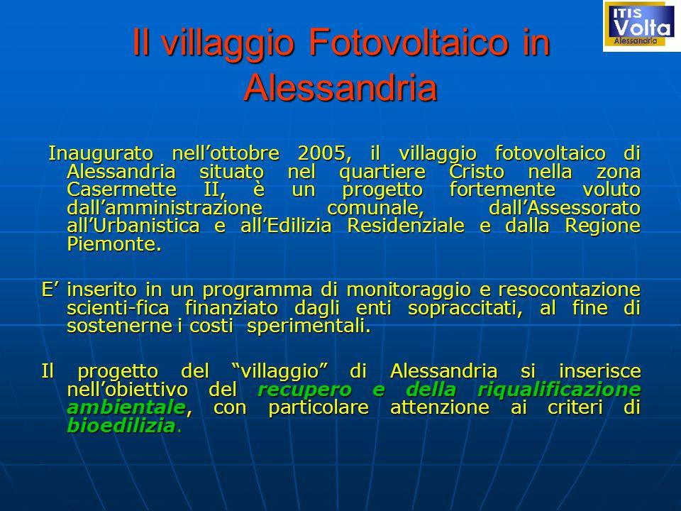 Il villaggio Fotovoltaico in Alessandria Inaugurato nell'ottobre 2005, il villaggio fotovoltaico di Alessandria situato nel quartiere Cristo nella zona Casermette II, è un progetto fortemente voluto dall'amministrazione comunale, dall'Assessorato all'Urbanistica e all'Edilizia Residenziale e dalla Regione Piemonte.