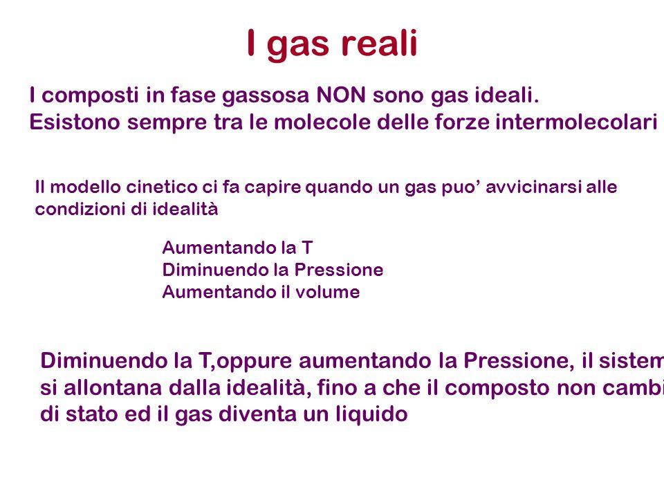 I gas reali I composti in fase gassosa NON sono gas ideali. Esistono sempre tra le molecole delle forze intermolecolari Aumentando la T Diminuendo la
