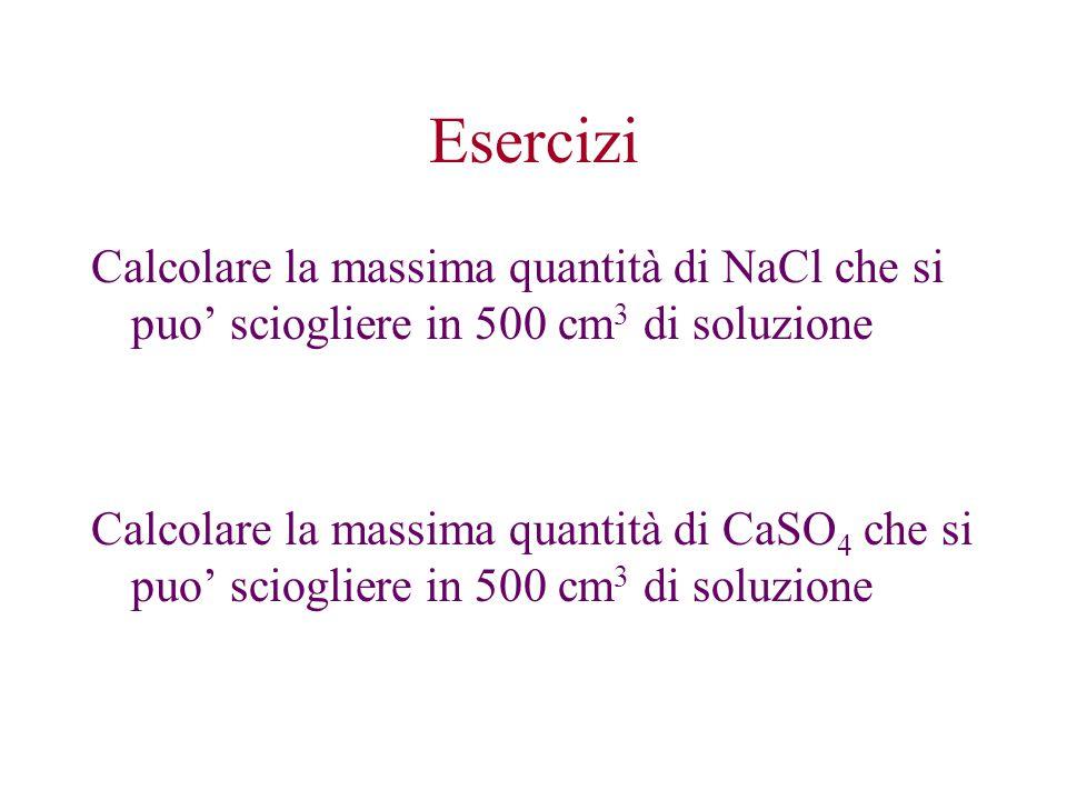 Esercizi Calcolare la massima quantità di NaCl che si puo' sciogliere in 500 cm 3 di soluzione Calcolare la massima quantità di CaSO 4 che si puo' sci