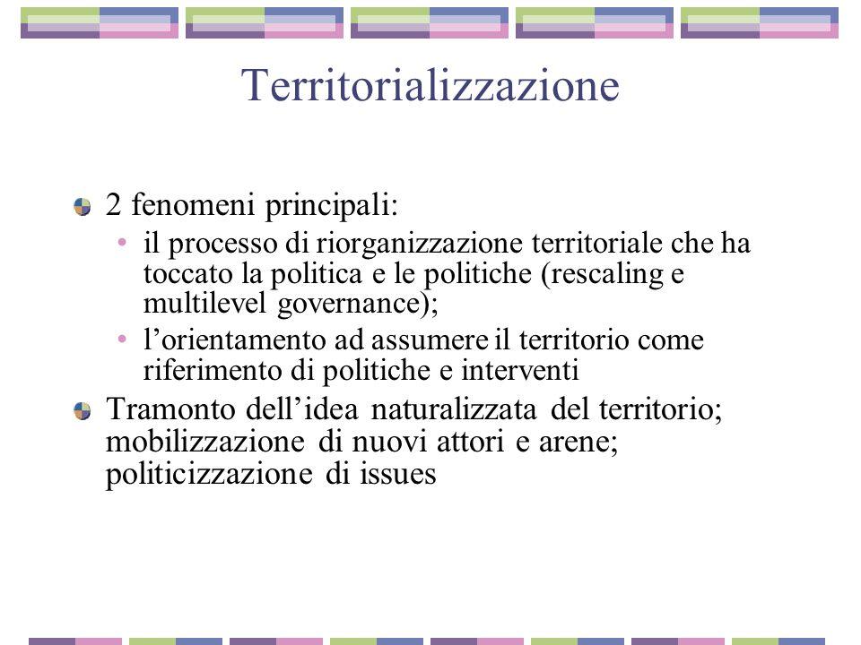 Territorializzazione 2 fenomeni principali: il processo di riorganizzazione territoriale che ha toccato la politica e le politiche (rescaling e multil