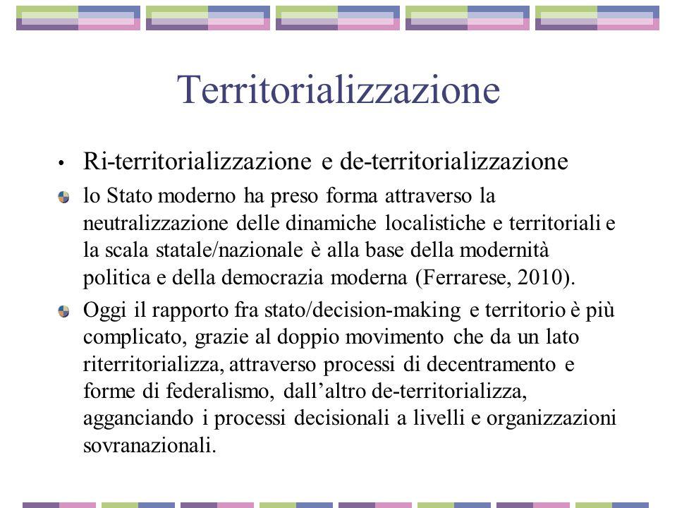 Territorializzazione Ri-territorializzazione e de-territorializzazione lo Stato moderno ha preso forma attraverso la neutralizzazione delle dinamiche localistiche e territoriali e la scala statale/nazionale è alla base della modernità politica e della democrazia moderna (Ferrarese, 2010).