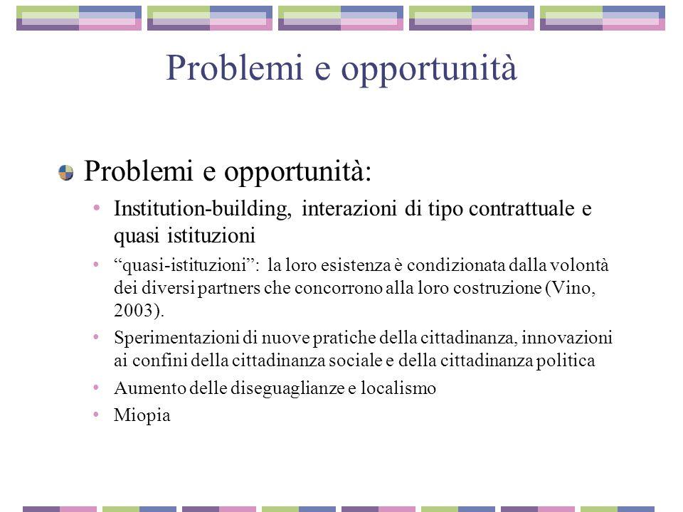 """Problemi e opportunità Problemi e opportunità: Institution-building, interazioni di tipo contrattuale e quasi istituzioni """"quasi-istituzioni"""": la loro"""