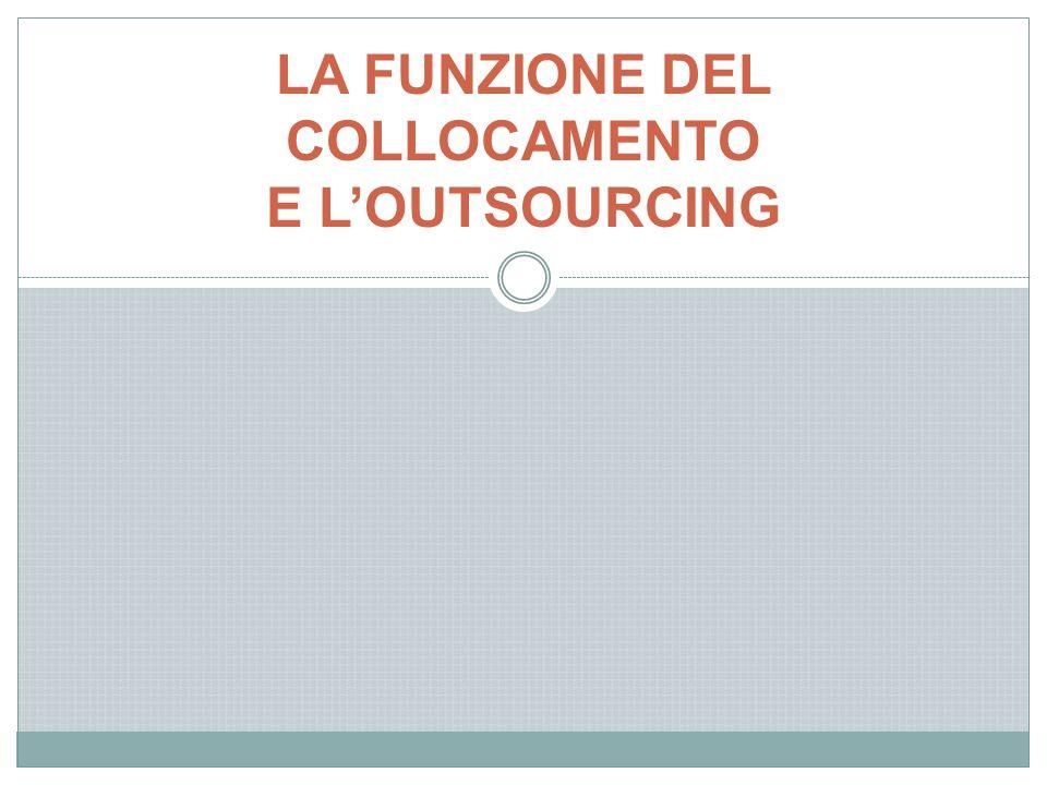 LA FUNZIONE DEL COLLOCAMENTO E L'OUTSOURCING