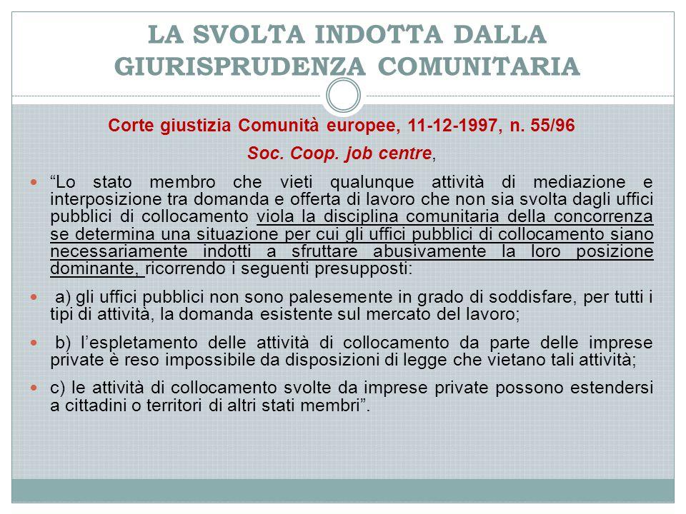 LA SVOLTA INDOTTA DALLA GIURISPRUDENZA COMUNITARIA Corte giustizia Comunità europee, 11-12-1997, n.