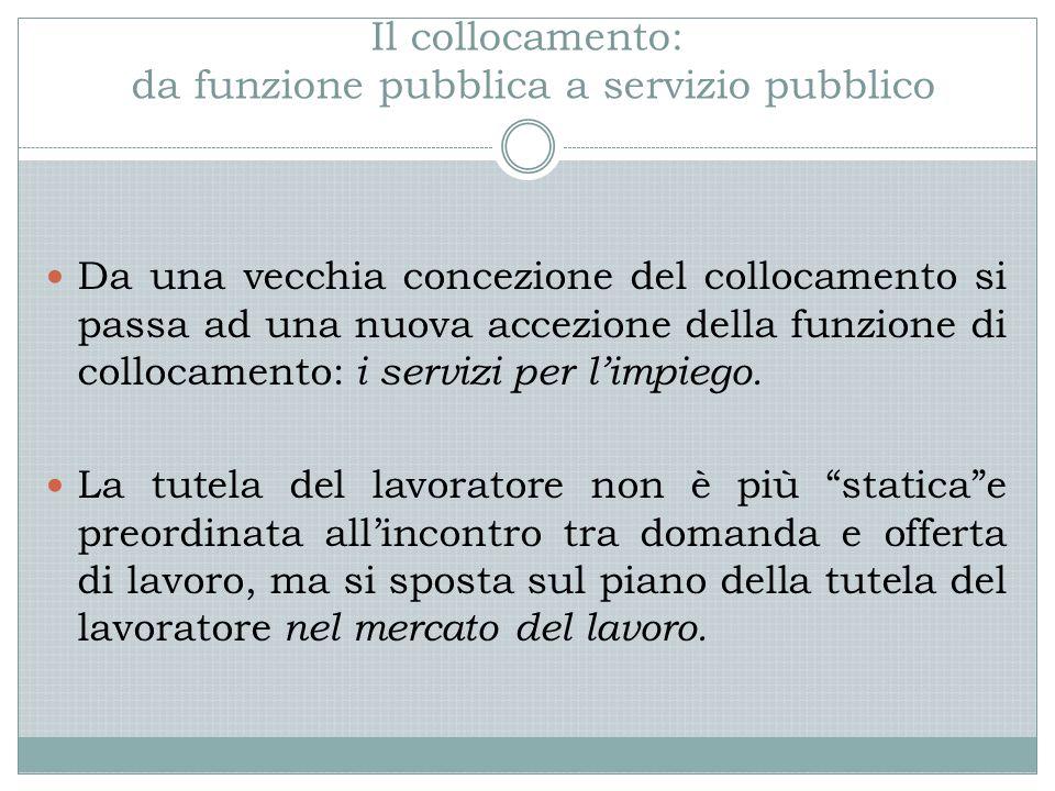Il collocamento: da funzione pubblica a servizio pubblico Da una vecchia concezione del collocamento si passa ad una nuova accezione della funzione di collocamento: i servizi per l'impiego.