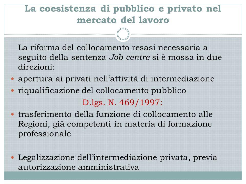 La coesistenza di pubblico e privato nel mercato del lavoro La riforma del collocamento resasi necessaria a seguito della sentenza Job centre si è mossa in due direzioni: apertura ai privati nell'attività di intermediazione riqualificazione del collocamento pubblico D.lgs.