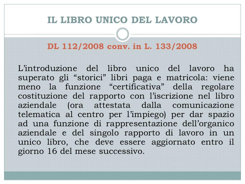 IL LIBRO UNICO DEL LAVORO DL 112/2008 conv. in L.