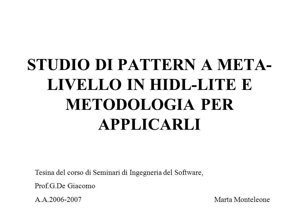 Obiettivi Individuare pattern a meta-livello Tradurre pattern in HiDL-lite Individuare metodologia per applicare i pattern Individuare basi di conoscenza su cui applicare i pattern