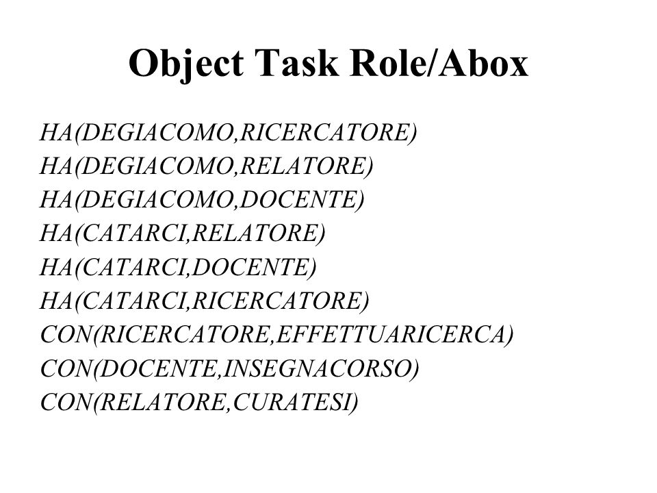 Object Task Role/Abox HA(DEGIACOMO,RICERCATORE) HA(DEGIACOMO,RELATORE) HA(DEGIACOMO,DOCENTE) HA(CATARCI,RELATORE) HA(CATARCI,DOCENTE) HA(CATARCI,RICER