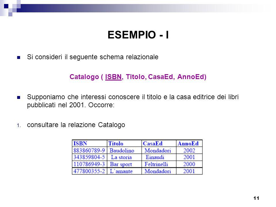 11 ESEMPIO - I Si consideri il seguente schema relazionale Catalogo ( ISBN, Titolo, CasaEd, AnnoEd) Supponiamo che interessi conoscere il titolo e la casa editrice dei libri pubblicati nel 2001.