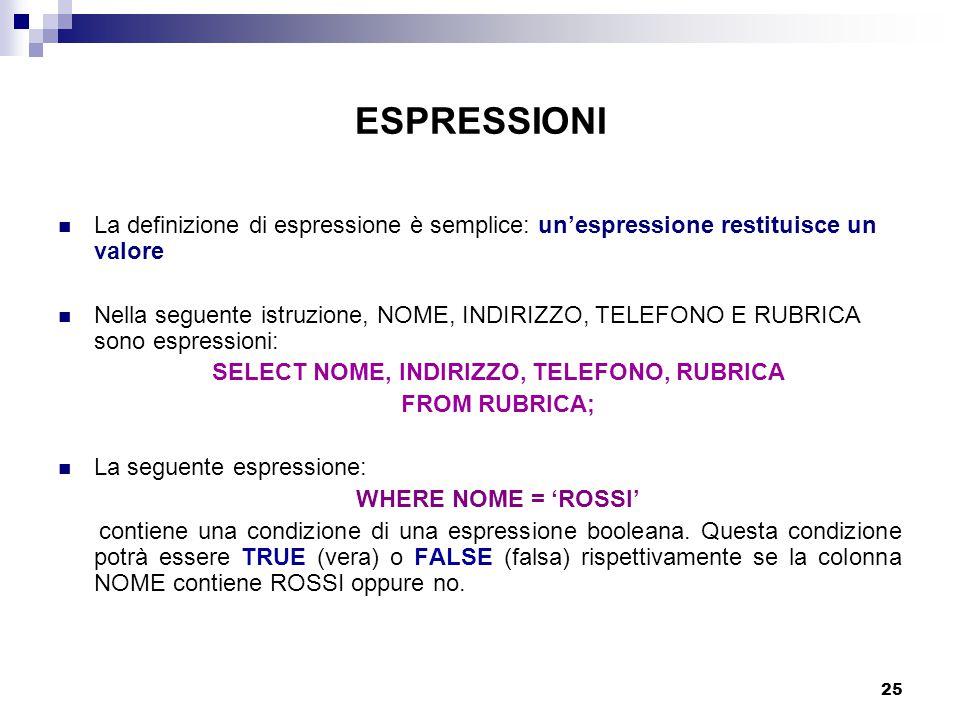 25 ESPRESSIONI La definizione di espressione è semplice: un'espressione restituisce un valore Nella seguente istruzione, NOME, INDIRIZZO, TELEFONO E RUBRICA sono espressioni: SELECT NOME, INDIRIZZO, TELEFONO, RUBRICA FROM RUBRICA; La seguente espressione: WHERE NOME = 'ROSSI' contiene una condizione di una espressione booleana.