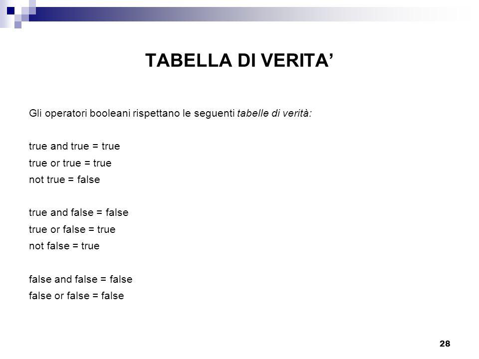 28 TABELLA DI VERITA' Gli operatori booleani rispettano le seguenti tabelle di verità: true and true = true true or true = true not true = false true