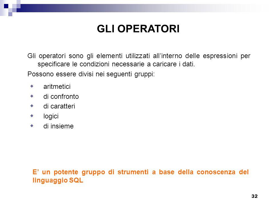 32 E' un potente gruppo di strumenti a base della conoscenza del linguaggio SQL Gli operatori sono gli elementi utilizzati all'interno delle espressioni per specificare le condizioni necessarie a caricare i dati.