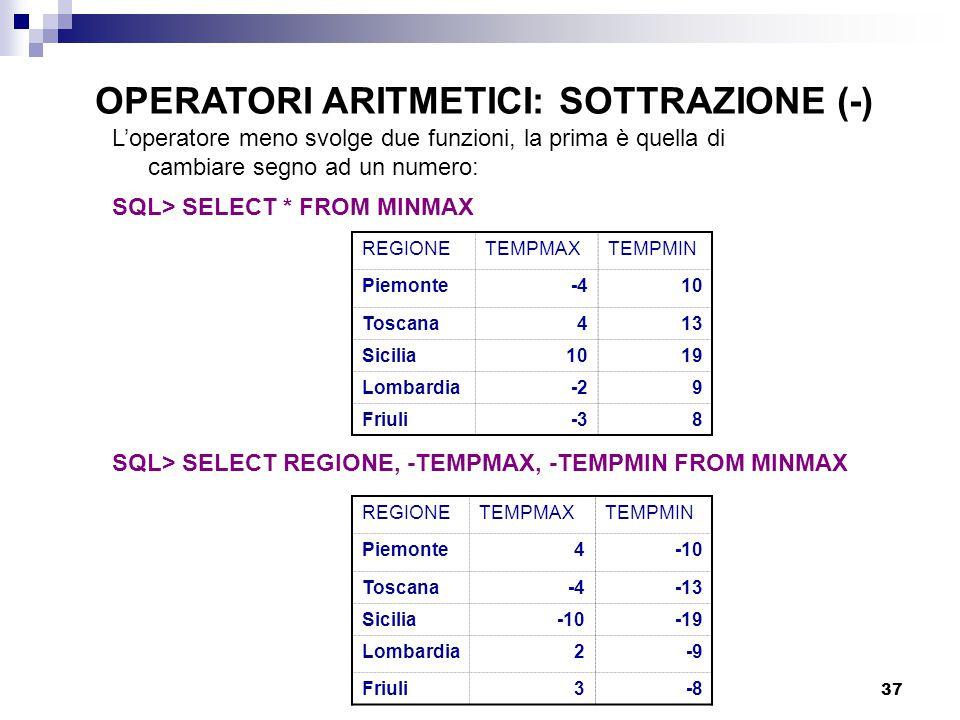 37 L'operatore meno svolge due funzioni, la prima è quella di cambiare segno ad un numero: SQL> SELECT * FROM MINMAX REGIONETEMPMAXTEMPMIN Piemonte-410 Toscana413 Sicilia1019 Lombardia-29 Friuli-38 REGIONETEMPMAXTEMPMIN Piemonte4-10 Toscana-4-13 Sicilia-10-19 Lombardia2-9 Friuli3-8 SQL> SELECT REGIONE, -TEMPMAX, -TEMPMIN FROM MINMAX OPERATORI ARITMETICI: SOTTRAZIONE (-)