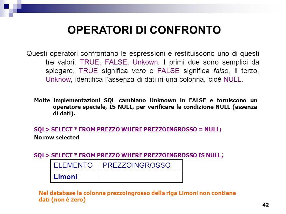 42 Questi operatori confrontano le espressioni e restituiscono uno di questi tre valori: TRUE, FALSE, Unkown. I primi due sono semplici da spiegare, T