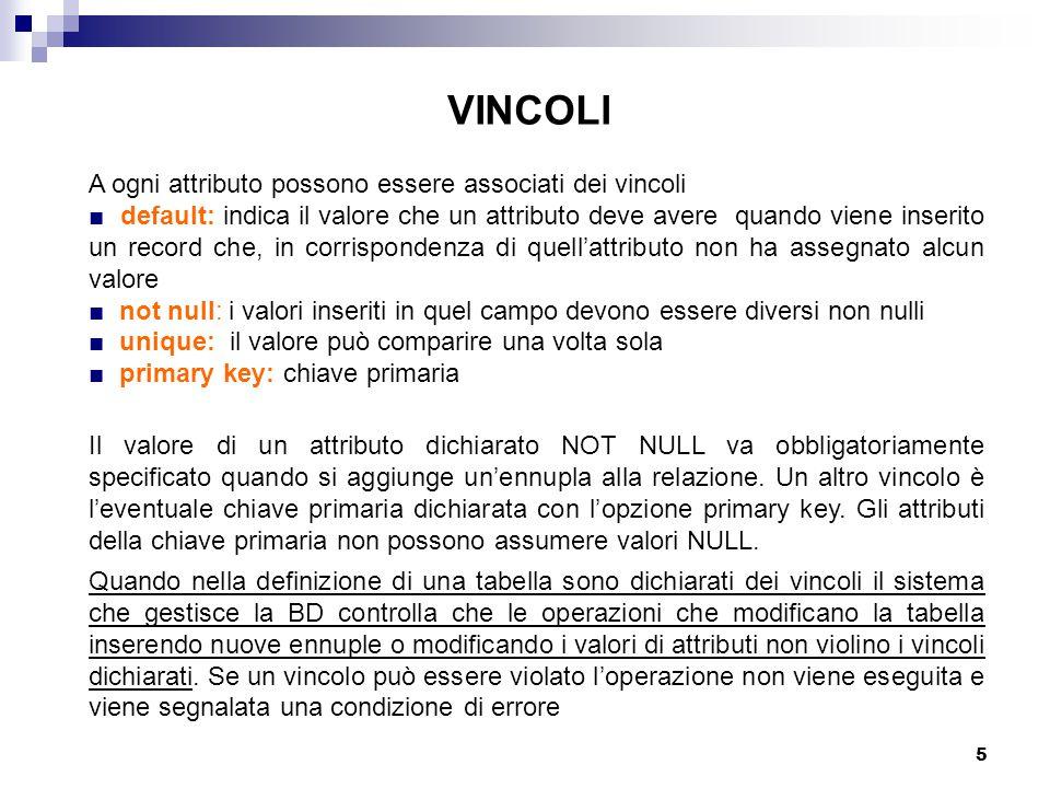 5 VINCOLI A ogni attributo possono essere associati dei vincoli ■ default: indica il valore che un attributo deve avere quando viene inserito un recor