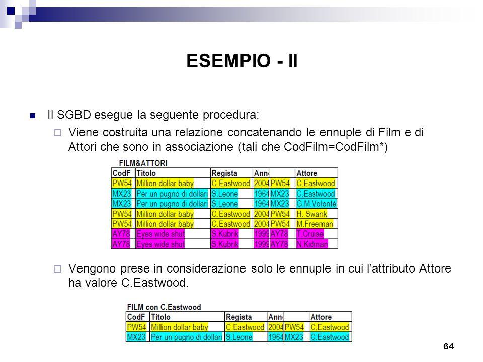64 ESEMPIO - II Il SGBD esegue la seguente procedura:  Viene costruita una relazione concatenando le ennuple di Film e di Attori che sono in associazione (tali che CodFilm=CodFilm*)  Vengono prese in considerazione solo le ennuple in cui l'attributo Attore ha valore C.Eastwood.