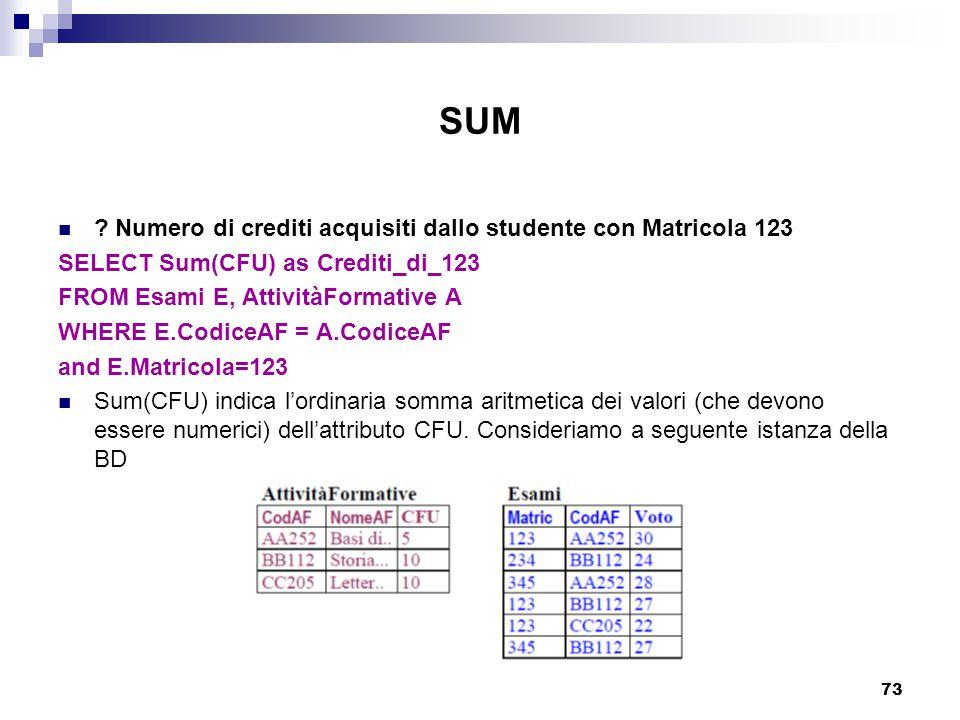 73 SUM ? Numero di crediti acquisiti dallo studente con Matricola 123 SELECT Sum(CFU) as Crediti_di_123 FROM Esami E, AttivitàFormative A WHERE E.Codi