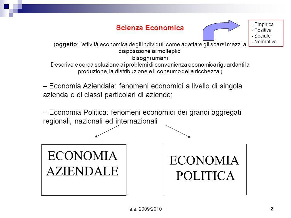 a.a. 2009/20102 ECONOMIA AZIENDALE ECONOMIA POLITICA Scienza Economica (oggetto: l'attività economica degli individui: come adattare gli scarsi mezzi