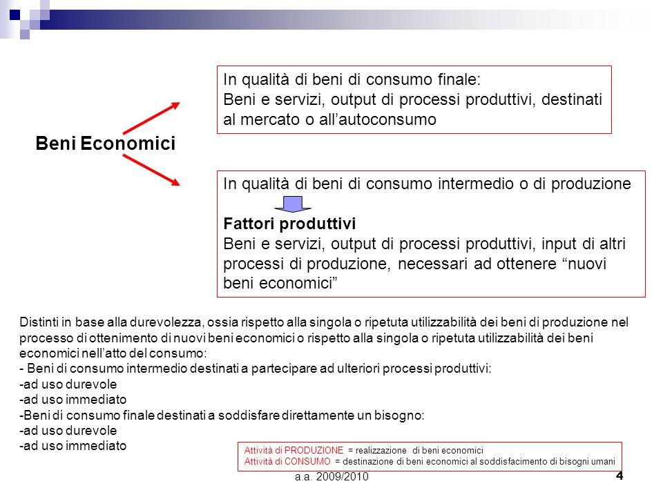 a.a. 2009/20104 Beni Economici In qualità di beni di consumo finale: Beni e servizi, output di processi produttivi, destinati al mercato o all'autocon