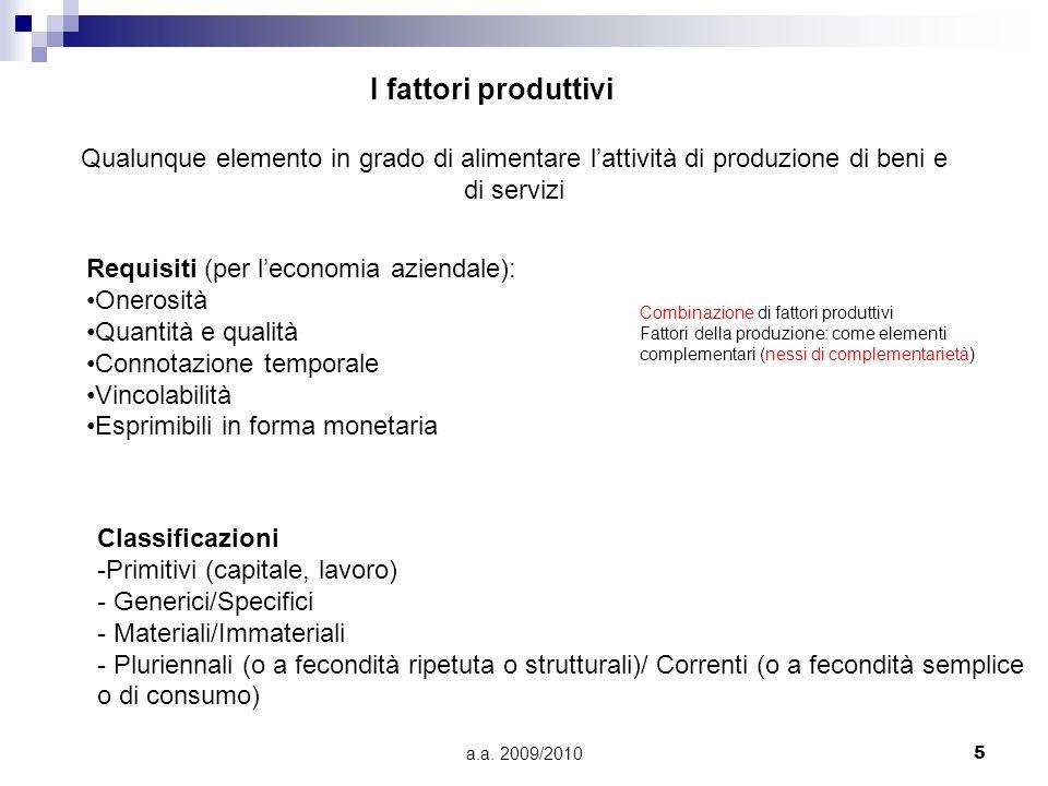 a.a. 2009/20105 I fattori produttivi Qualunque elemento in grado di alimentare l'attività di produzione di beni e di servizi Requisiti (per l'economia