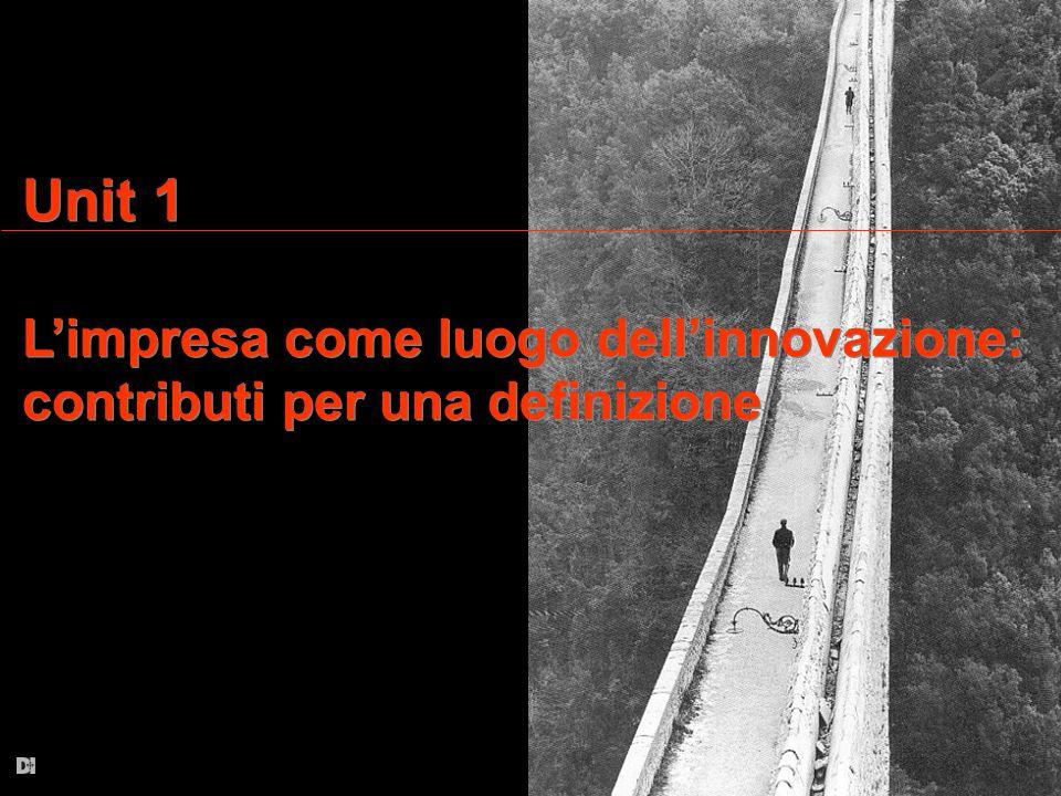 Unit 1 L'impresa come luogo dell'innovazione: contributi per una definizione Unit 1 L'impresa come luogo dell'innovazione: contributi per una definizi