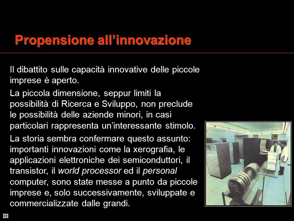Propensione all'innovazione Il dibattito sulle capacità innovative delle piccole imprese è aperto. La piccola dimensione, seppur limiti la possibilità