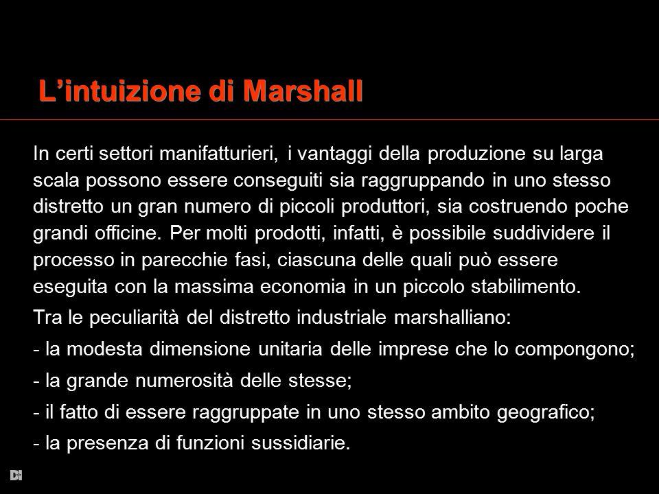 L'intuizione di Marshall In certi settori manifatturieri, i vantaggi della produzione su larga scala possono essere conseguiti sia raggruppando in uno