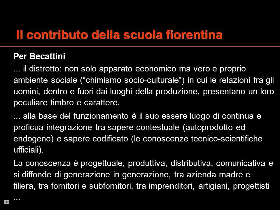 """Il contributo della scuola fiorentina Per Becattini... il distretto: non solo apparato economico ma vero e proprio ambiente sociale (""""chimismo socio-c"""