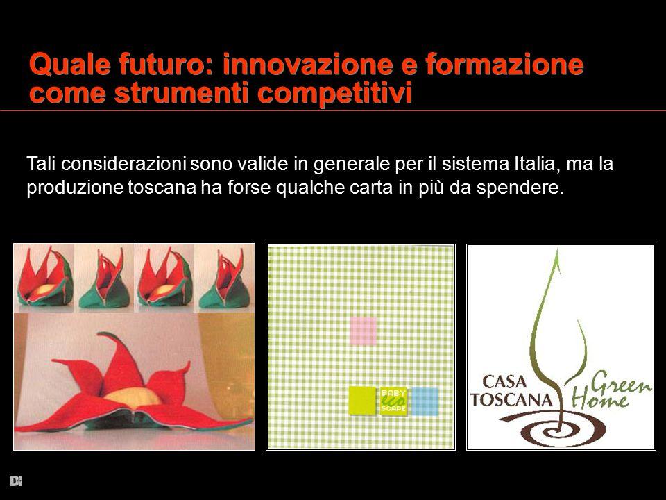 Quale futuro: innovazione e formazione come strumenti competitivi Tali considerazioni sono valide in generale per il sistema Italia, ma la produzione