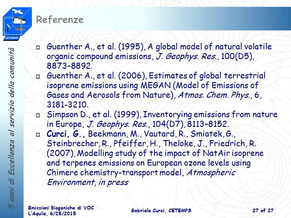 5 anni di Eccellenza al servizio della comunità Emissioni Biogeniche di VOC L'Aquila, 6/25/2015 Gabriele Curci, CETEMPS27 of 27 Referenze o Guenther A., et al.