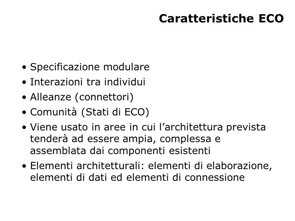 Caratteristiche ECO Specificazione modulare Interazioni tra individui Alleanze (connettori) Comunità (Stati di ECO) Viene usato in aree in cui l'archi