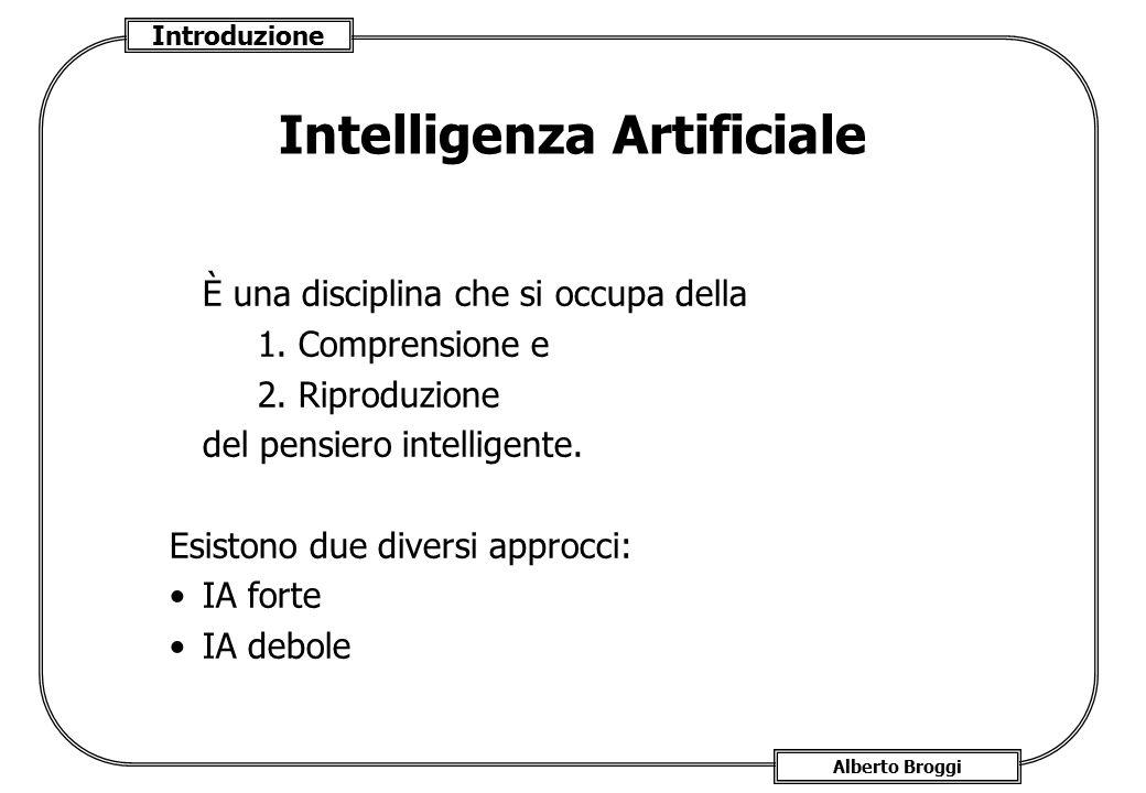 Introduzione Alberto Broggi Intelligenza Artificiale È una disciplina che si occupa della 1. Comprensione e 2. Riproduzione del pensiero intelligente.