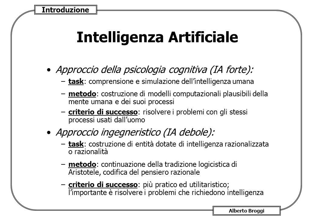 Introduzione Alberto Broggi Intelligenza Artificiale Approccio della psicologia cognitiva (IA forte): –task: comprensione e simulazione dell'intellige