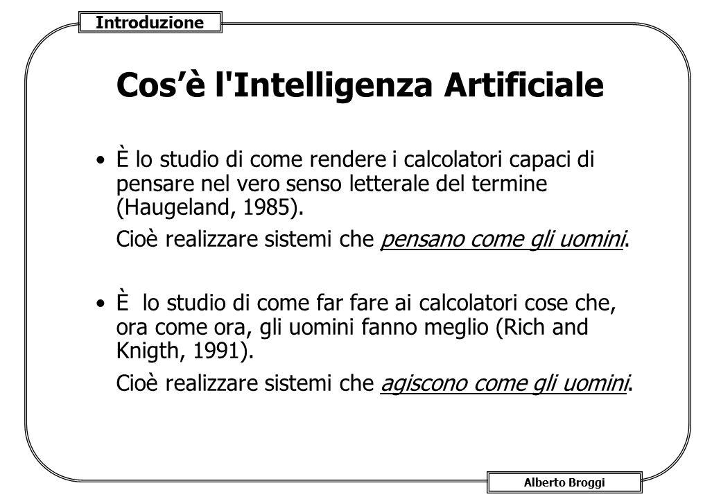 Introduzione Alberto Broggi Cos'è l'Intelligenza Artificiale È lo studio di come rendere i calcolatori capaci di pensare nel vero senso letterale del