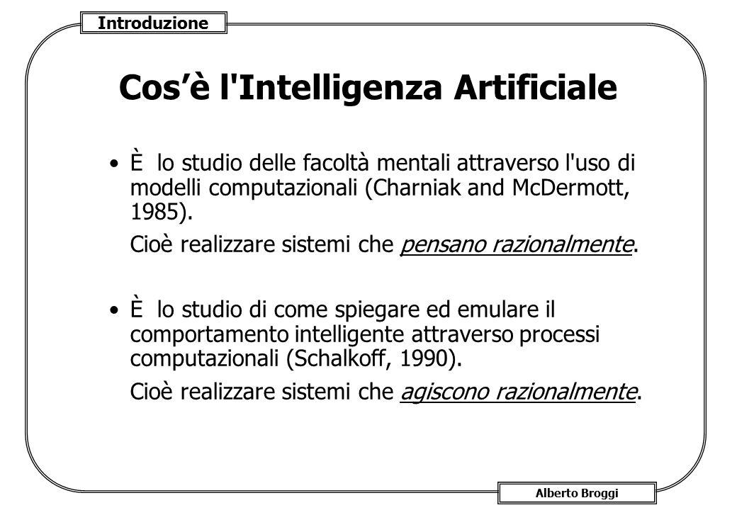 Introduzione Alberto Broggi Cos'è l'Intelligenza Artificiale È lo studio delle facoltà mentali attraverso l'uso di modelli computazionali (Charniak an