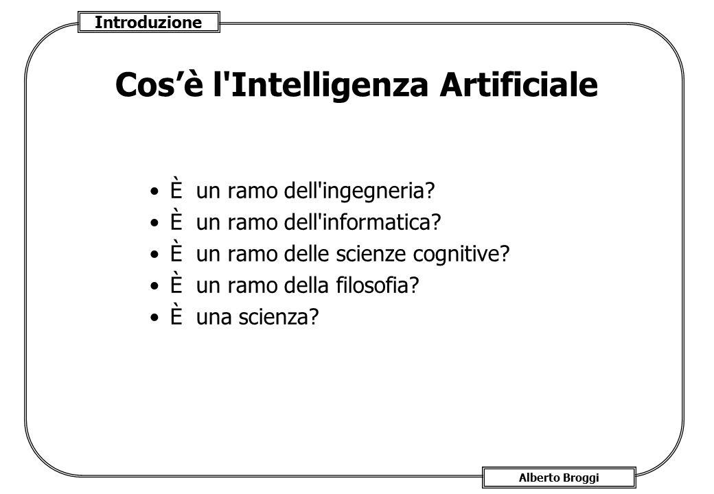 Introduzione Alberto Broggi Cos'è l'Intelligenza Artificiale È un ramo dell'ingegneria? È un ramo dell'informatica? È un ramo delle scienze cognitive?