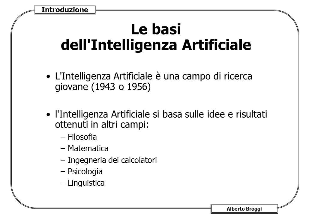 Introduzione Alberto Broggi Le basi dell'Intelligenza Artificiale L'Intelligenza Artificiale è una campo di ricerca giovane (1943 o 1956) l'Intelligen