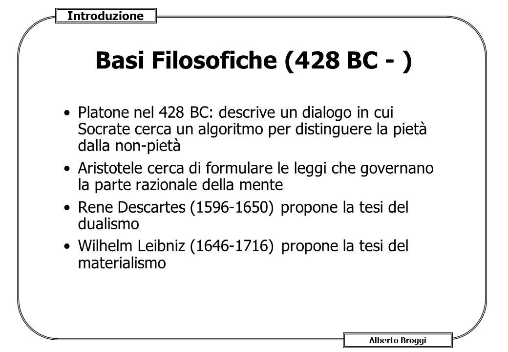Introduzione Alberto Broggi Basi Filosofiche (428 BC - ) Platone nel 428 BC: descrive un dialogo in cui Socrate cerca un algoritmo per distinguere la