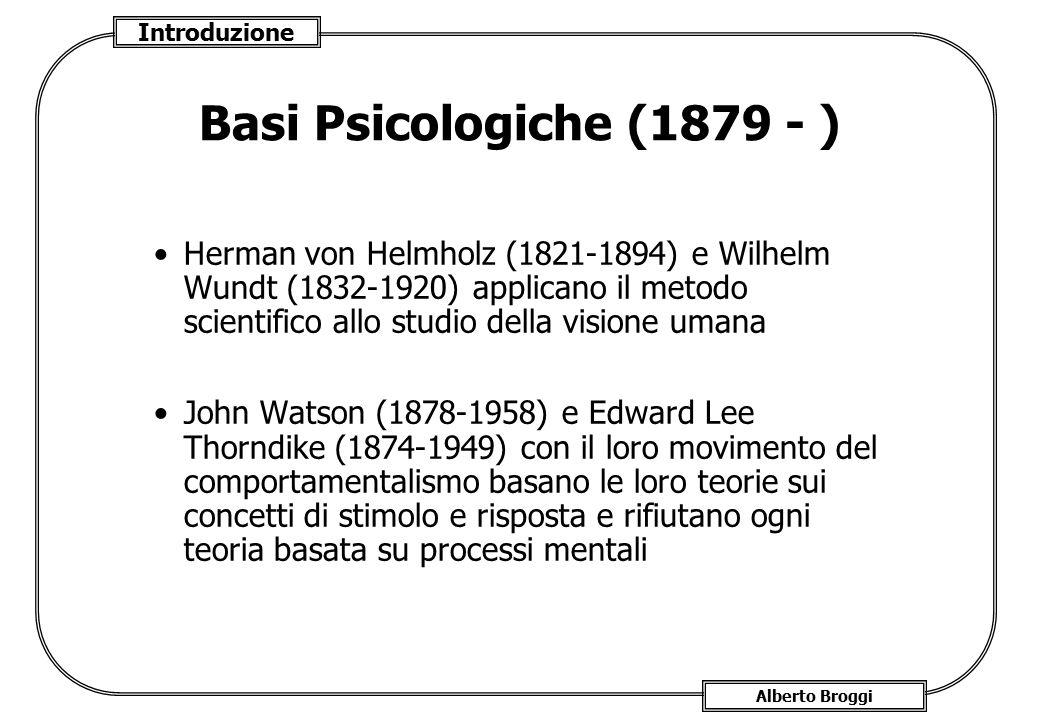 Introduzione Alberto Broggi Basi Psicologiche (1879 - ) Herman von Helmholz (1821-1894) e Wilhelm Wundt (1832-1920) applicano il metodo scientifico al