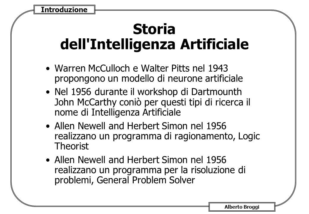 Introduzione Alberto Broggi Storia dell'Intelligenza Artificiale Warren McCulloch e Walter Pitts nel 1943 propongono un modello di neurone artificiale