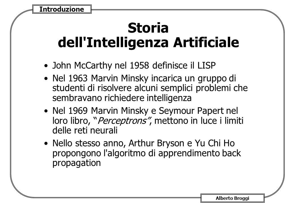 Introduzione Alberto Broggi Storia dell'Intelligenza Artificiale John McCarthy nel 1958 definisce il LISP Nel 1963 Marvin Minsky incarica un gruppo di