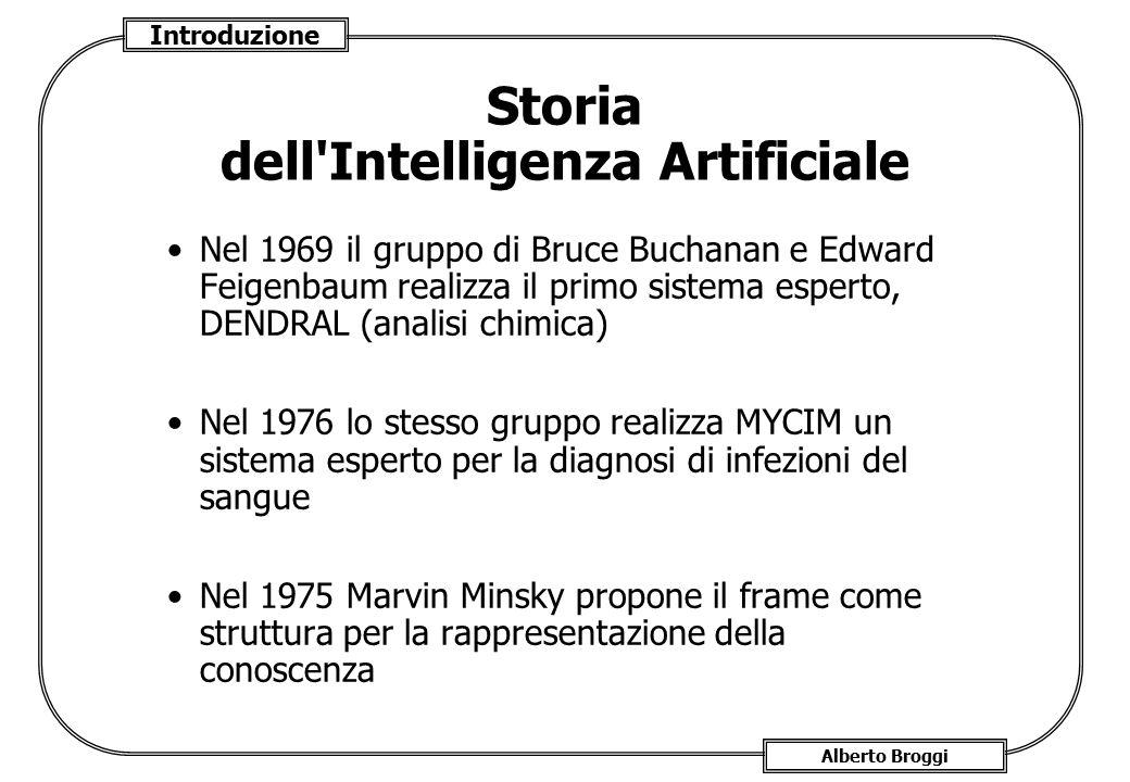 Introduzione Alberto Broggi Storia dell'Intelligenza Artificiale Nel 1969 il gruppo di Bruce Buchanan e Edward Feigenbaum realizza il primo sistema es