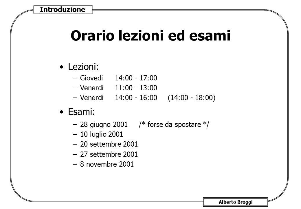 Introduzione Alberto Broggi Orario lezioni ed esami Lezioni: –Giovedì 14:00 - 17:00 –Venerdì 11:00 - 13:00 –Venerdì 14:00 - 16:00 (14:00 - 18:00) Esam