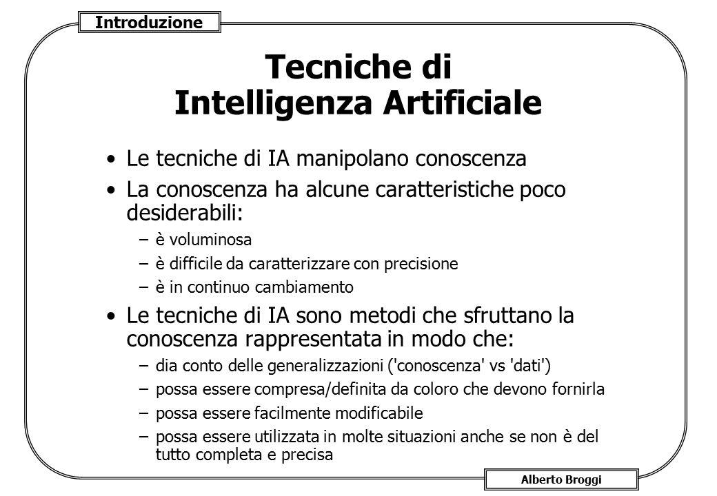 Introduzione Alberto Broggi Tecniche di Intelligenza Artificiale Le tecniche di IA manipolano conoscenza La conoscenza ha alcune caratteristiche poco