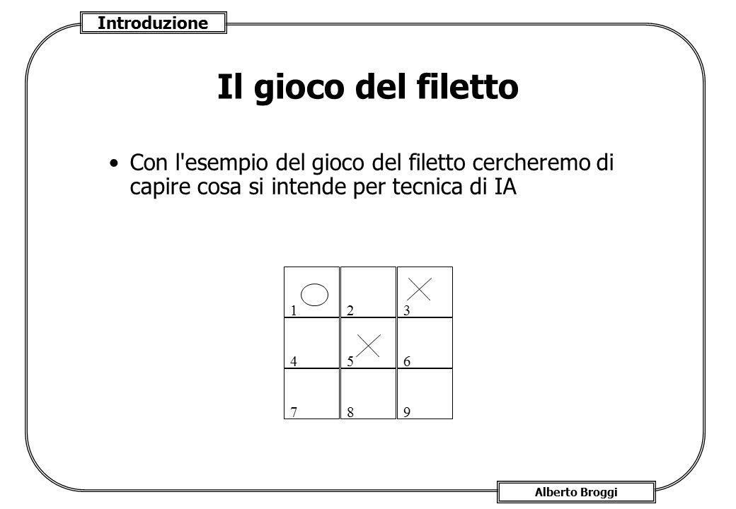 Introduzione Alberto Broggi Il gioco del filetto Con l'esempio del gioco del filetto cercheremo di capire cosa si intende per tecnica di IA 12 9 4 8 3
