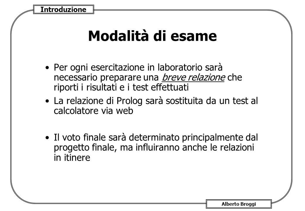 Introduzione Alberto Broggi Modalità di esame Per ogni esercitazione in laboratorio sarà necessario preparare una breve relazione che riporti i risult