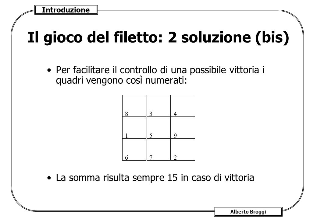 Introduzione Alberto Broggi Il gioco del filetto: 2 soluzione (bis) Per facilitare il controllo di una possibile vittoria i quadri vengono così numera