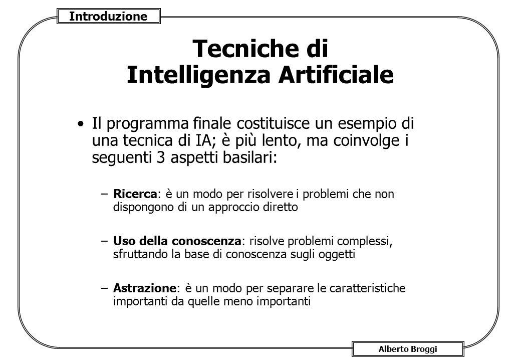 Introduzione Alberto Broggi Tecniche di Intelligenza Artificiale Il programma finale costituisce un esempio di una tecnica di IA; è più lento, ma coin