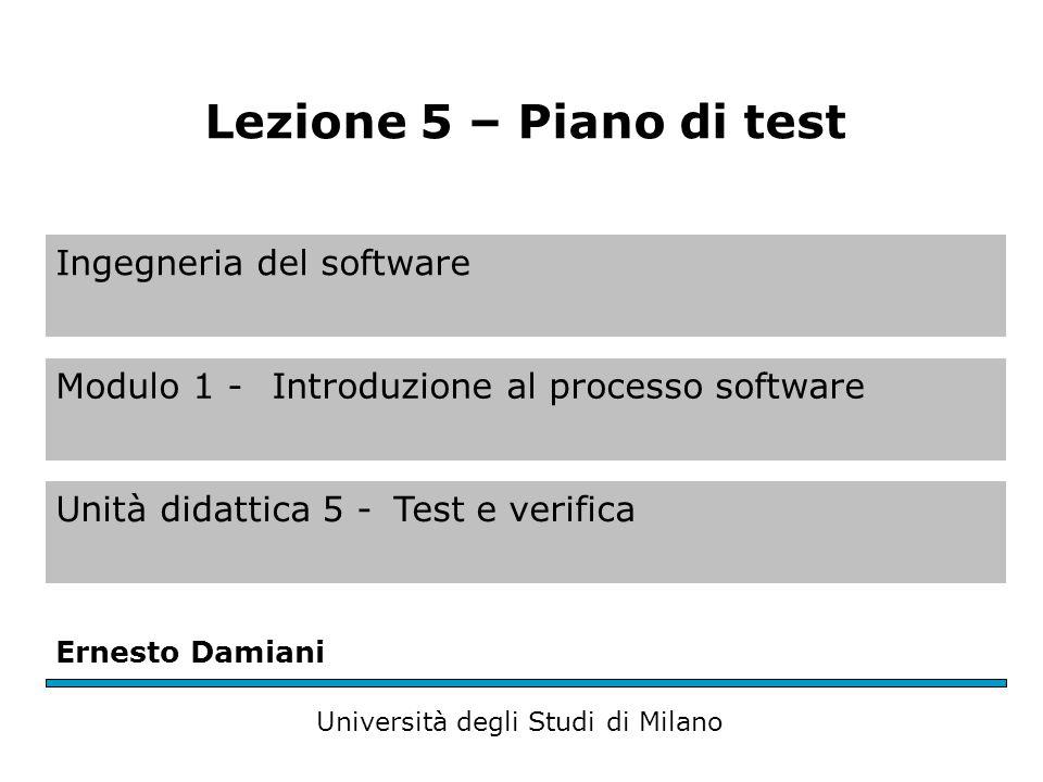 Scrivere un piano dei test Introduzione –Scopo –Descrizione Ambiente di test Descrizione dei casi di test –Criteri di coverage –Dettagli Conclusioni